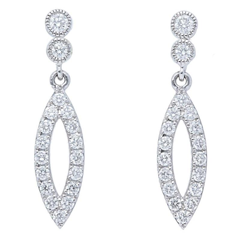 Deutsch Signature Marquise Shape Dangle Diamond Pave w/ Bezel Stud Earrings