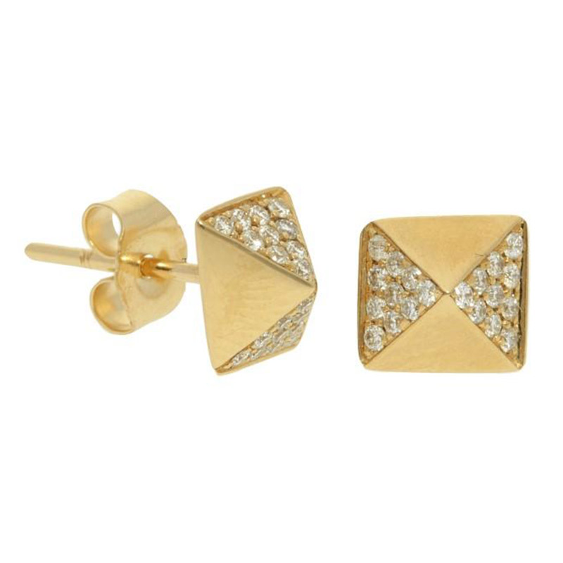 Deutsch Signature Polished and Diamond Squared Pyramid Stud Earrings