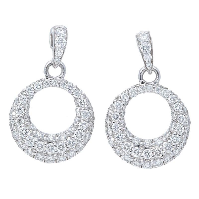 Deutsch Signature Graduating Open Circle Diamond Drop Stud Earrings