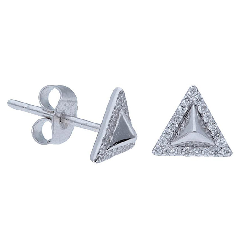 Deutsch Signature Polished Pyramid with Pave Diamond Border