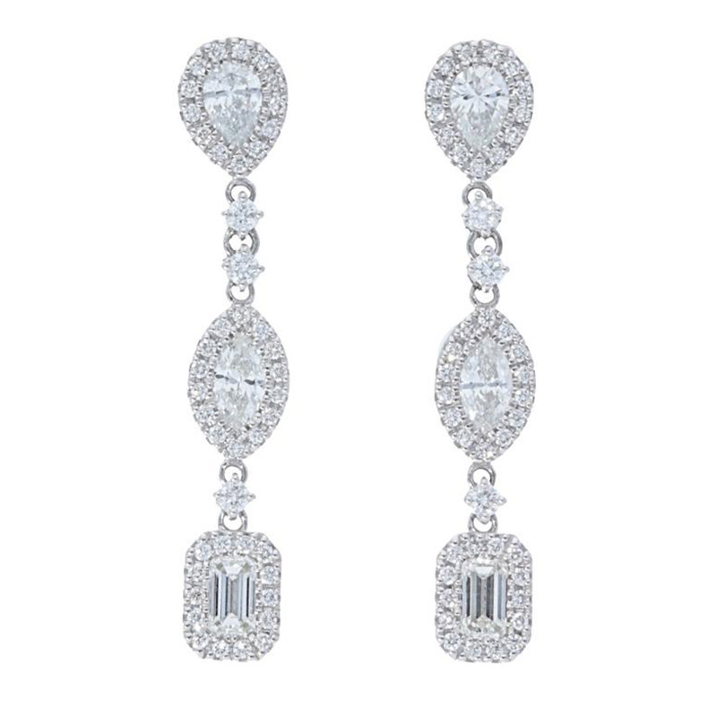 Deutsch Signature Mixed Diamond Shapes with Halo Drop Stud Earrings
