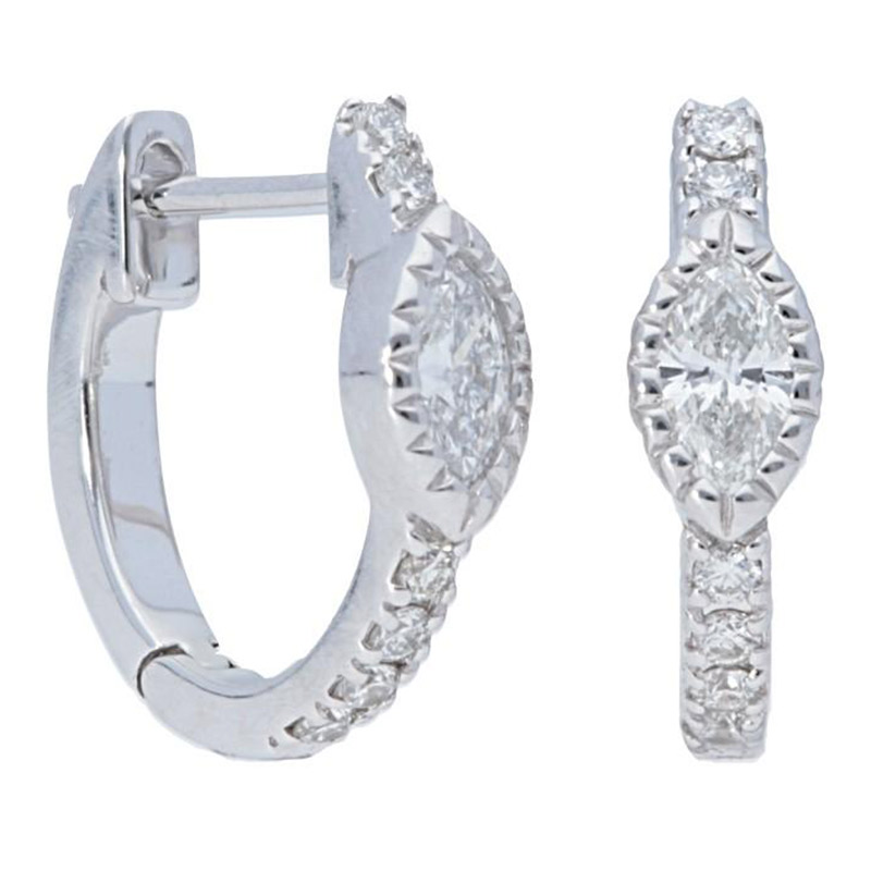 Deutsch Signature Marquise Diamond with Pave Huggie Earrings