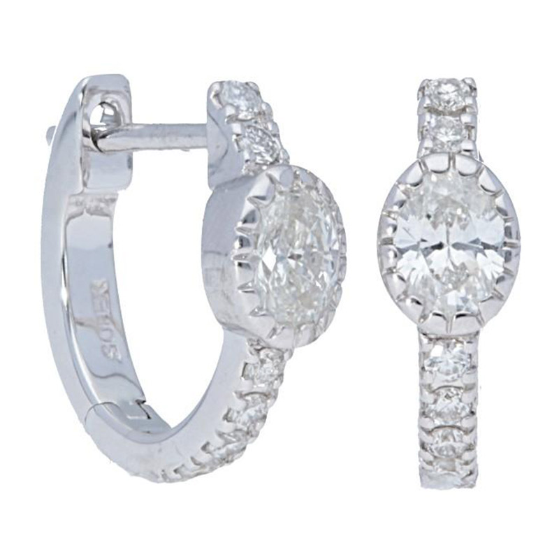 Deutsch Signature Oval Diamond with Pave Huggie Earrings