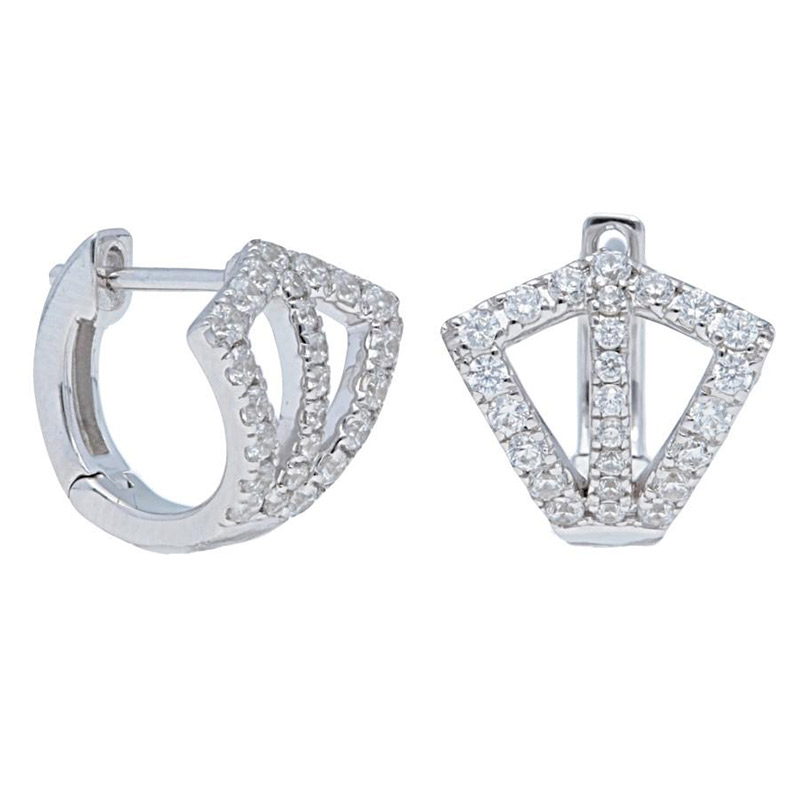Deutsch Signature Double Open Kite Shape Diamond Pave Huggie Earrings