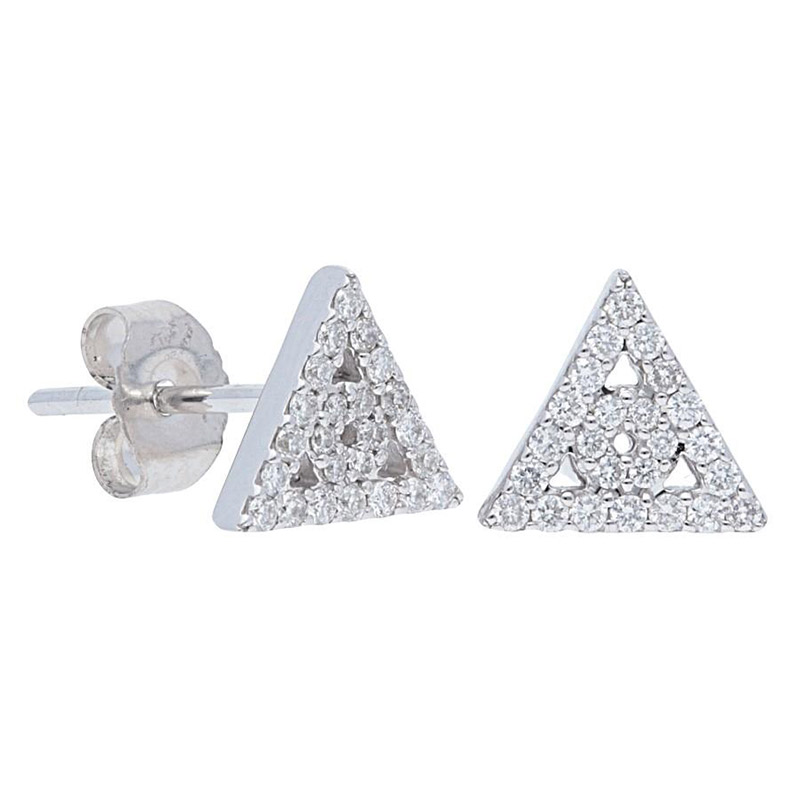 Deutsch Signature Pave Diamond Triangle and Circle Stud Earrings