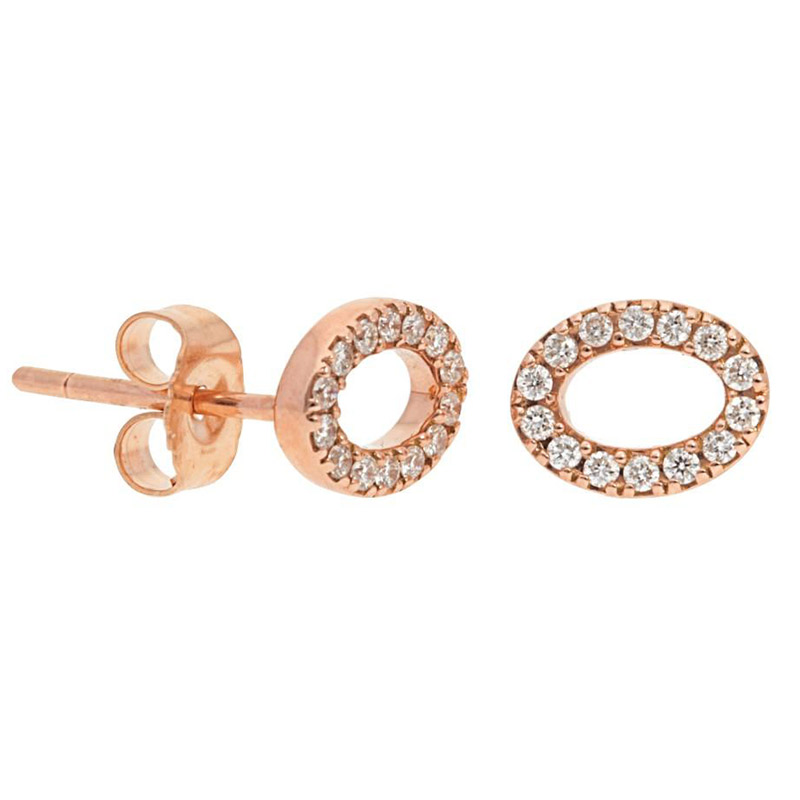 Deutsch Signature Open Pave Diamond Oval Stud Earrings