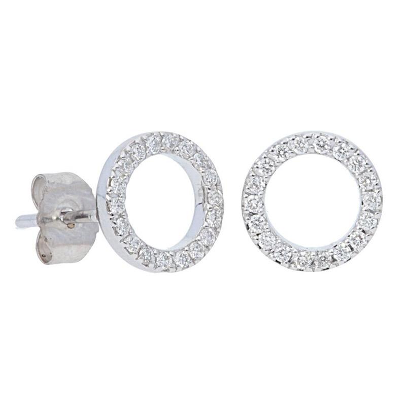 Deutsch Signature Open Pave Diamond Circle Stud Earrings