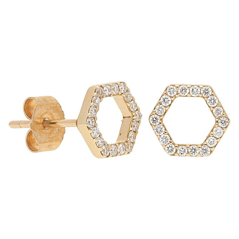 Deutsch Signature Open Pave Diamond Hexagon Stud Earrings