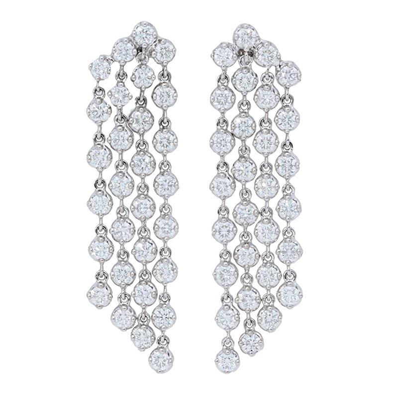 Deutsch Signature 4 Row Diamond Waterfall Stud Earrings
