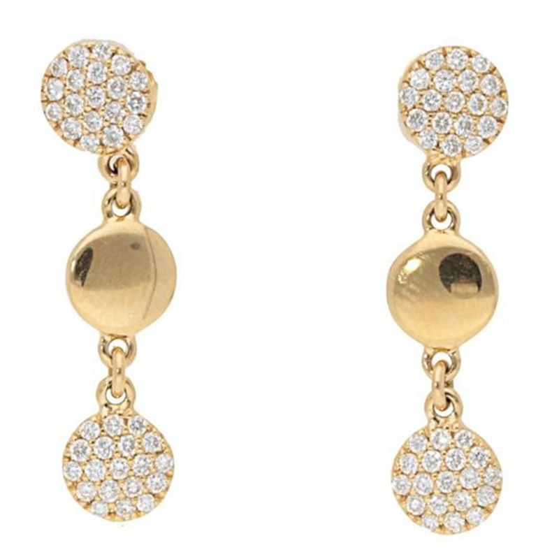 Deutsch Signature Alternating Diamond Pave and Polished Gold Disc Stud Earrings