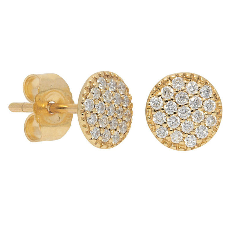 Deutsch Signature Pave Diamond Disc With Beaded Border Stud Earrings