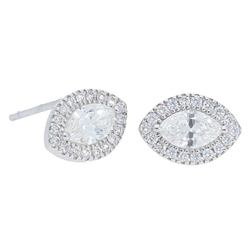 Deutsch Signature Marquise Diamond Halo Stud Earrings