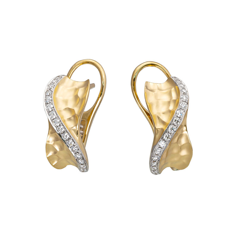 Jye's Diamond Hammered Curved Earrings
