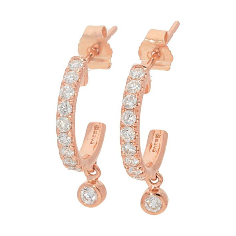 Deutsch Signature Pave Diamond Hoop with Diamond Bezel Drop Stud Earrings