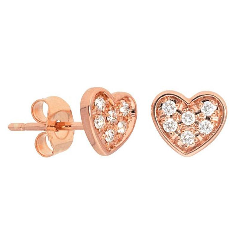 Deutsch Signature Pave Diamond Heart Stud Earrings