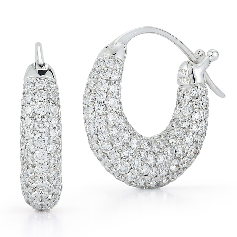 Deutsch Signature Round Pave Diamond Huggies