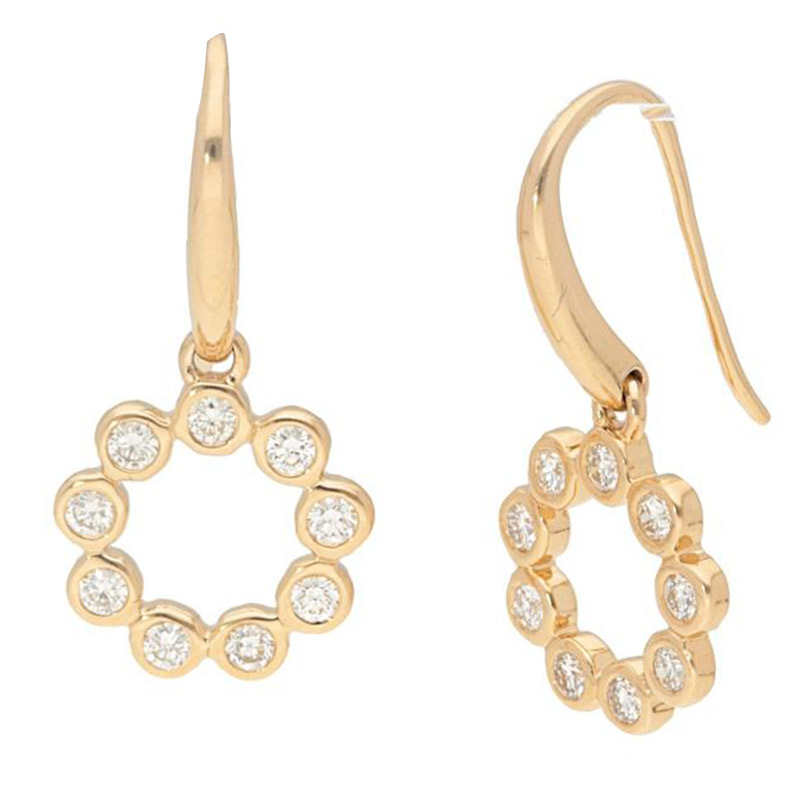 Deutsch Signature Circle Diamond Bezel Drop Earrings