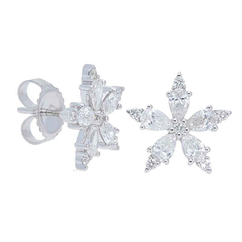 Deutsch Signature 5 Petal Diamond Flower Stud Earrings