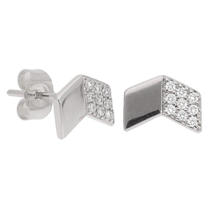 Deutsch Signature Chevron Diamond and Polished Gold Stud Earrings