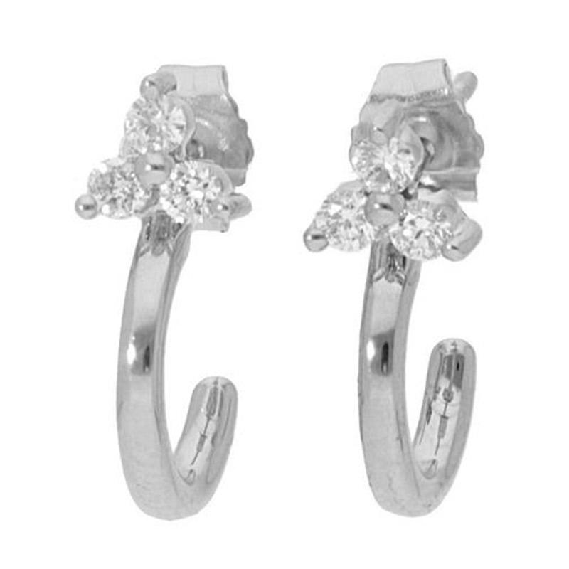 Deutsch Signature 3 Diamond Cluster Hoop Stud Earrings