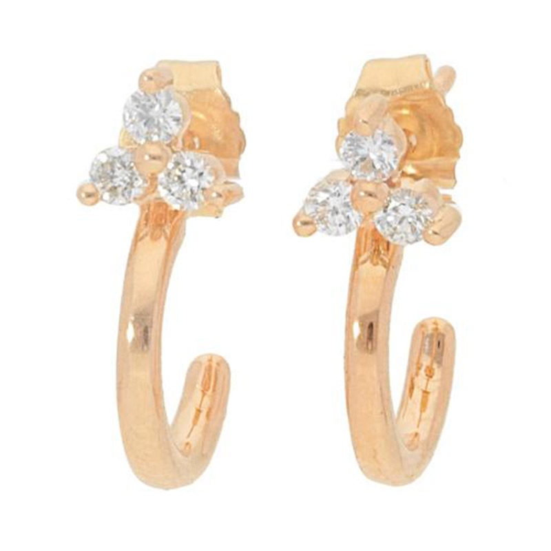 Deutsch Signature 3 Diamond Cluster Hoop Stud Earrings