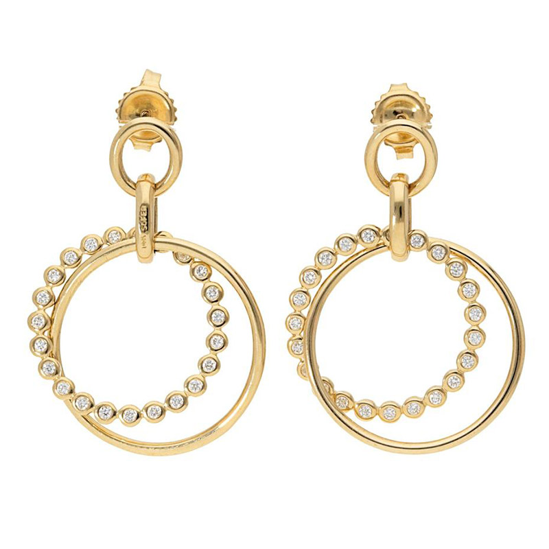 Deutsch Signature Double Circle Diamond Bezel and Polished Gold Stud Earrings