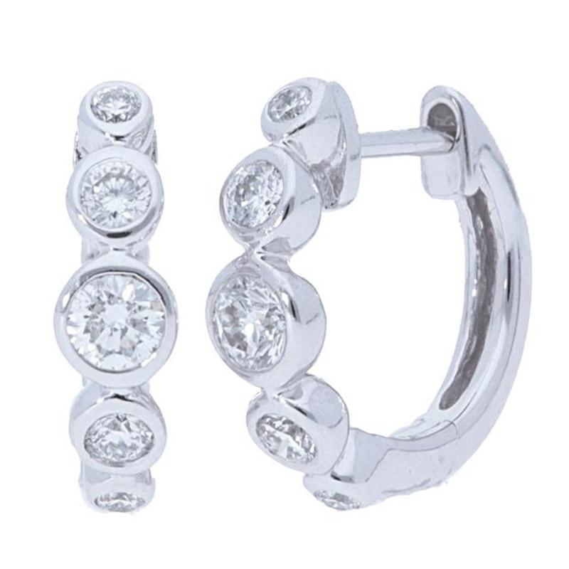 Deutsch Signature Graduated Diamond Bezel Huggie Earrings