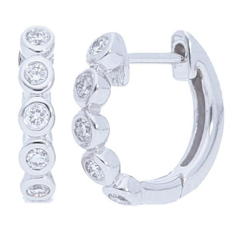 Deutsch Signature Diamond Bezel Huggie Earrings