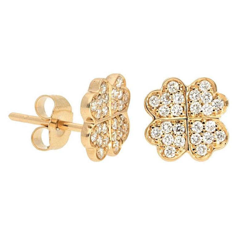 Deutsch Signature Pave Diamond Clover Stud Earrings