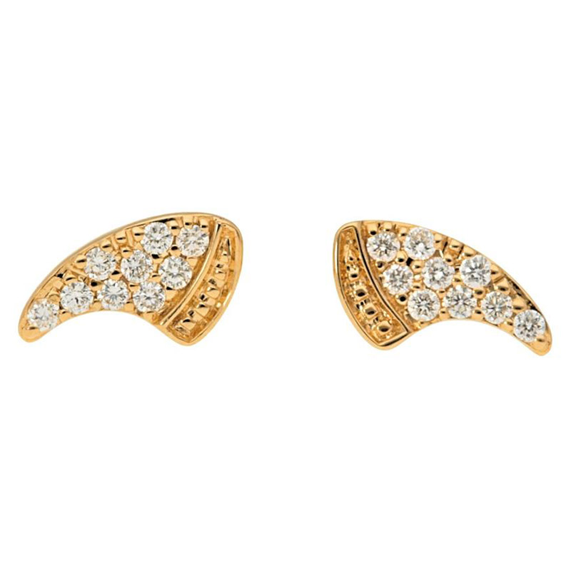 Deutsch Signature Pave Diamond Horn Stud Earrings