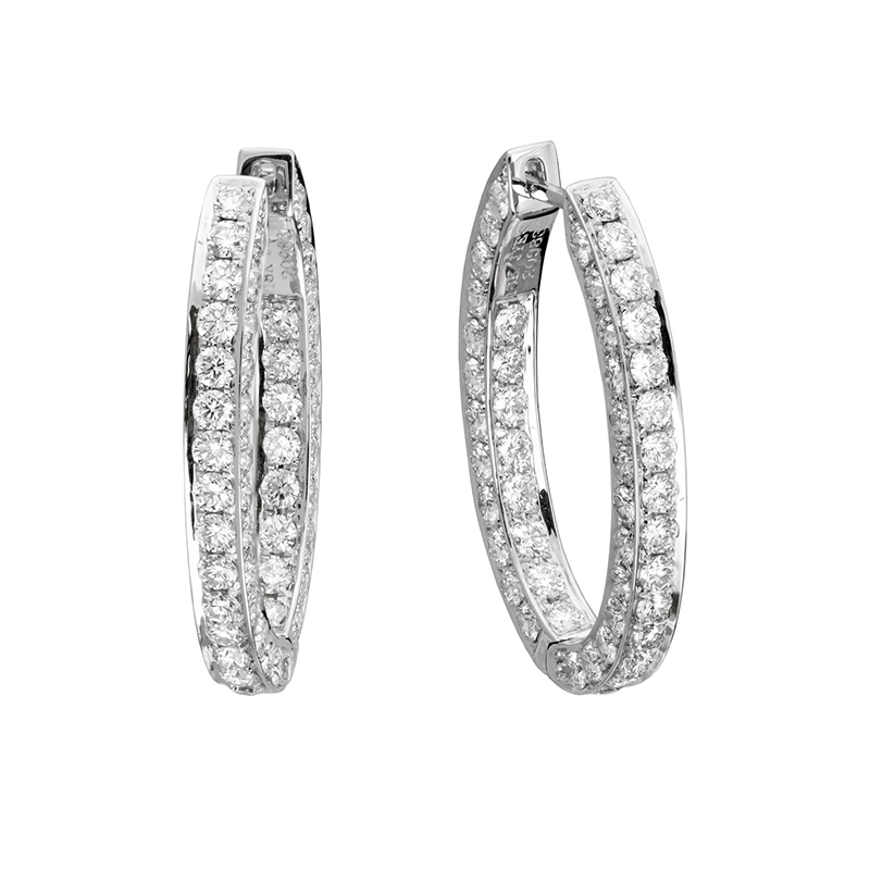 Jye's Diamond 3 Sided Oval Hoop Earrings