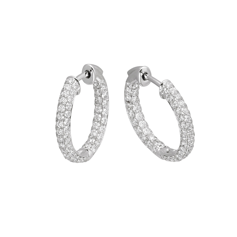 Jye's Round Diamond Inside Out Hoop Earrings