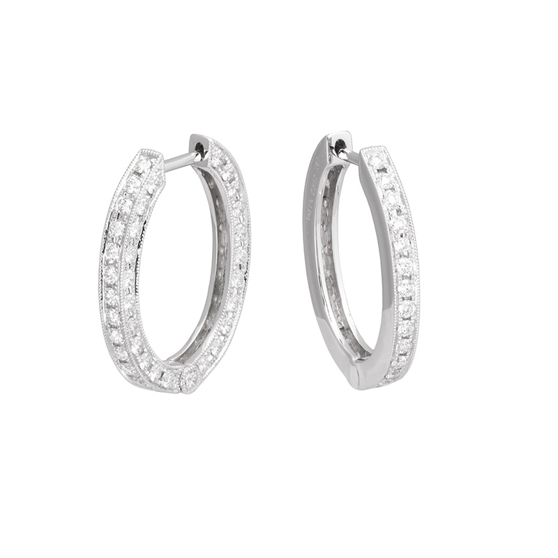 Jye's Milgrain Edge Oval Hoop Earrings
