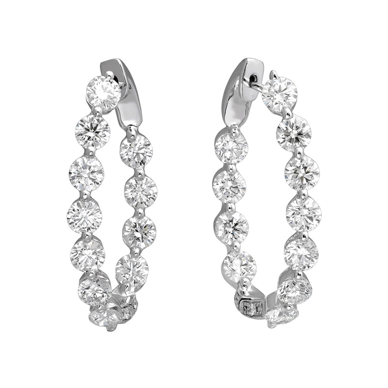Jye's Oval Diamond Inside Out Hoop Earring