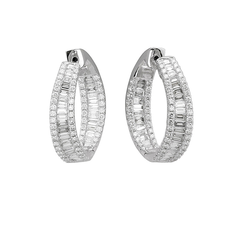 Jye's Diamond Baguete Inside Out Hoop Earrings