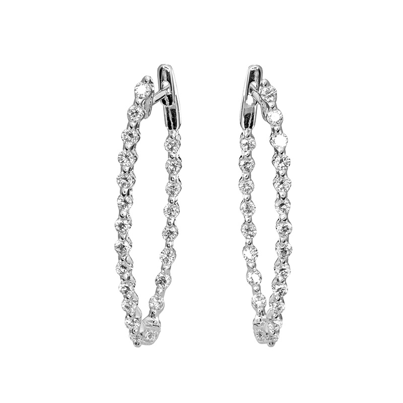 Jye's Mediium Diamond Inside Out Hoop Earrings