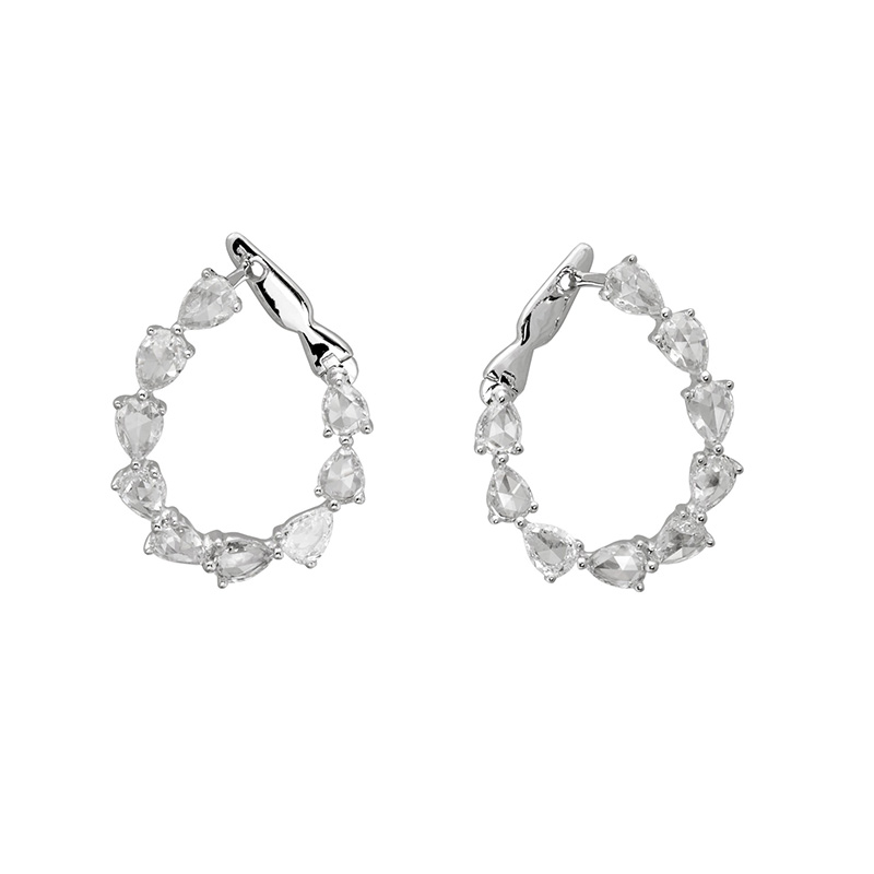Jye's Pear Diamonds Inside Out Hoop Earrings