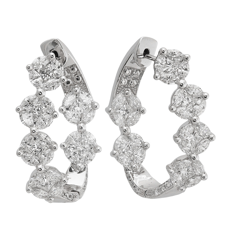 Jye's Marquise Diamond Inside Out Hoop Earrings
