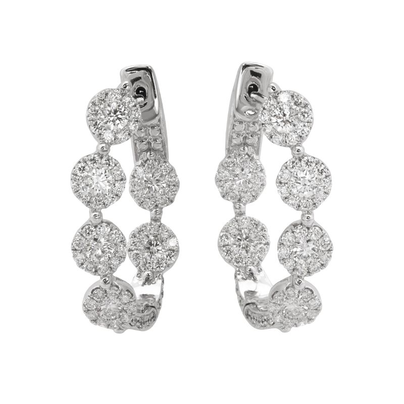 Jye's Cluster Diamond Inside Out Hoop Earrings