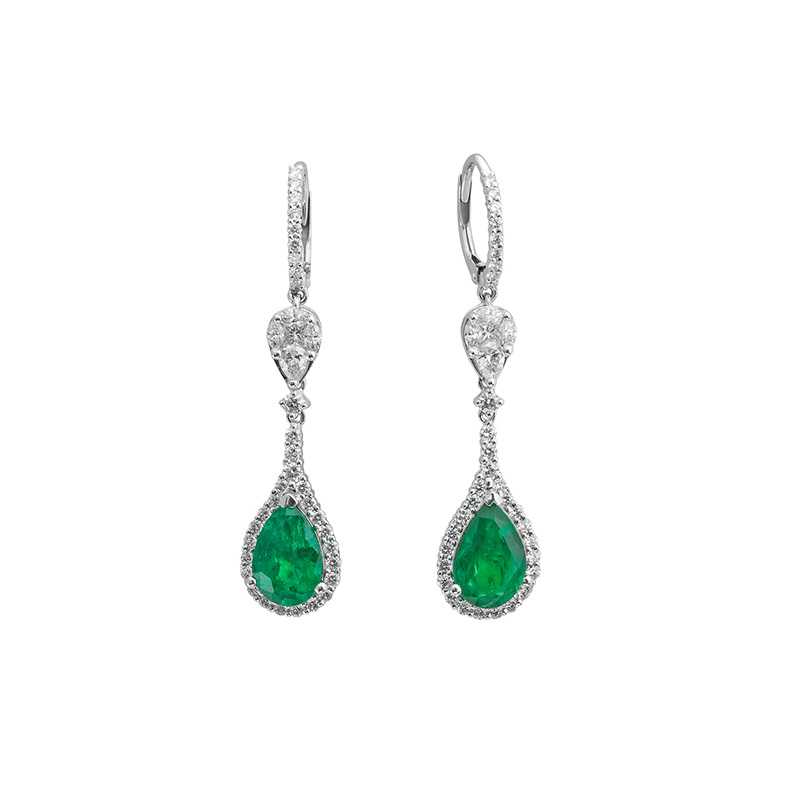 Jye's Emerald and Diamond Halo Earrings