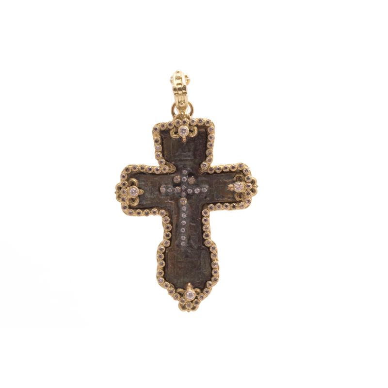 Sueno Fleur De Lis Cross Artifact Enhancer With White And Champagne Diamonds