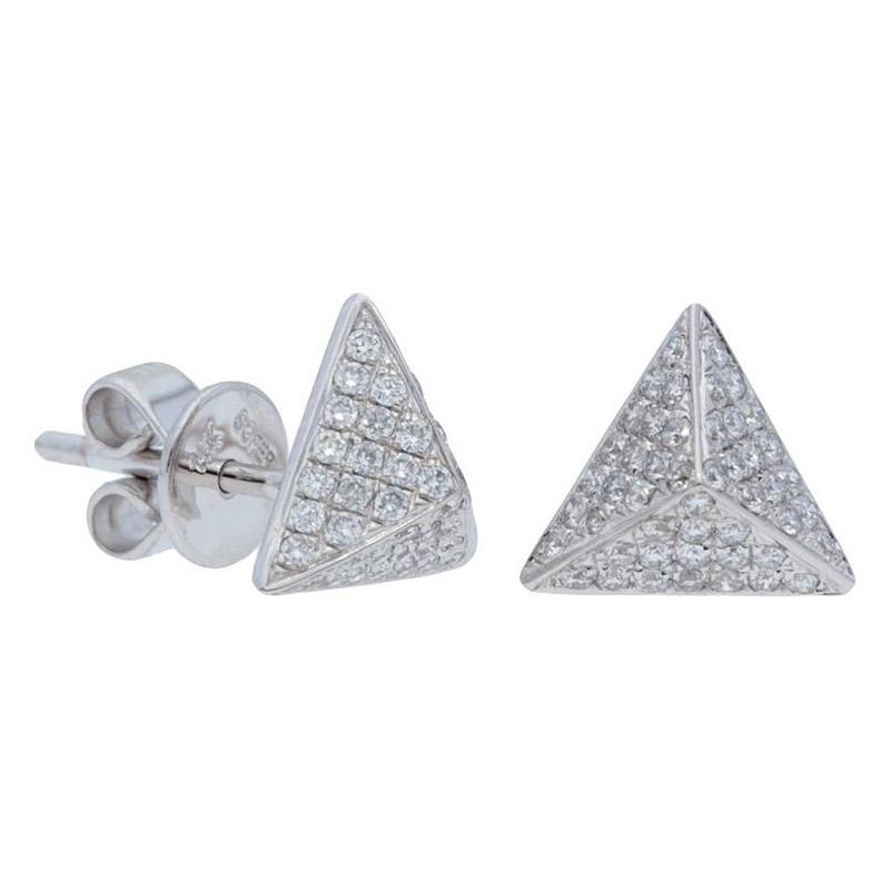 Deutsch Signature Pave Diamond Pyramid Stud Earrings