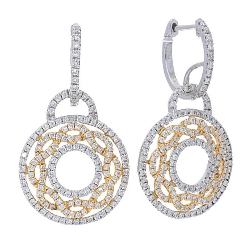 Deutsch Signature Pave Diamond Huggie with Open Pave Diamond Circle Drop Earrings