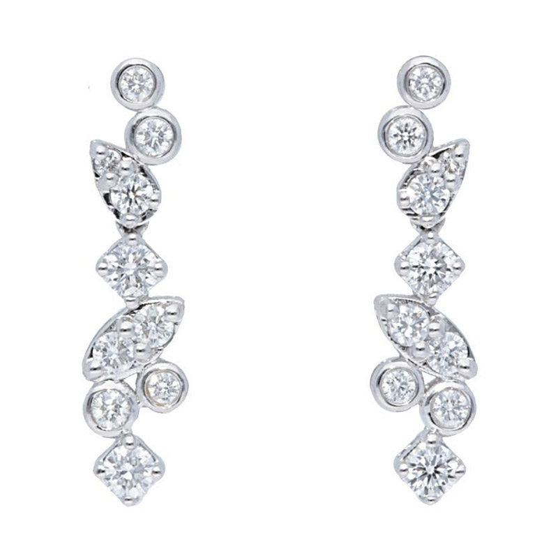 Deutsch Signature Alternating  Mixed Shapes Diamond Drop Earrings