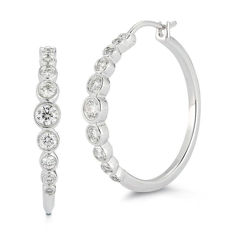 Deutsch Signature Graduated Diamond Hoop Earrings 0.75 inches