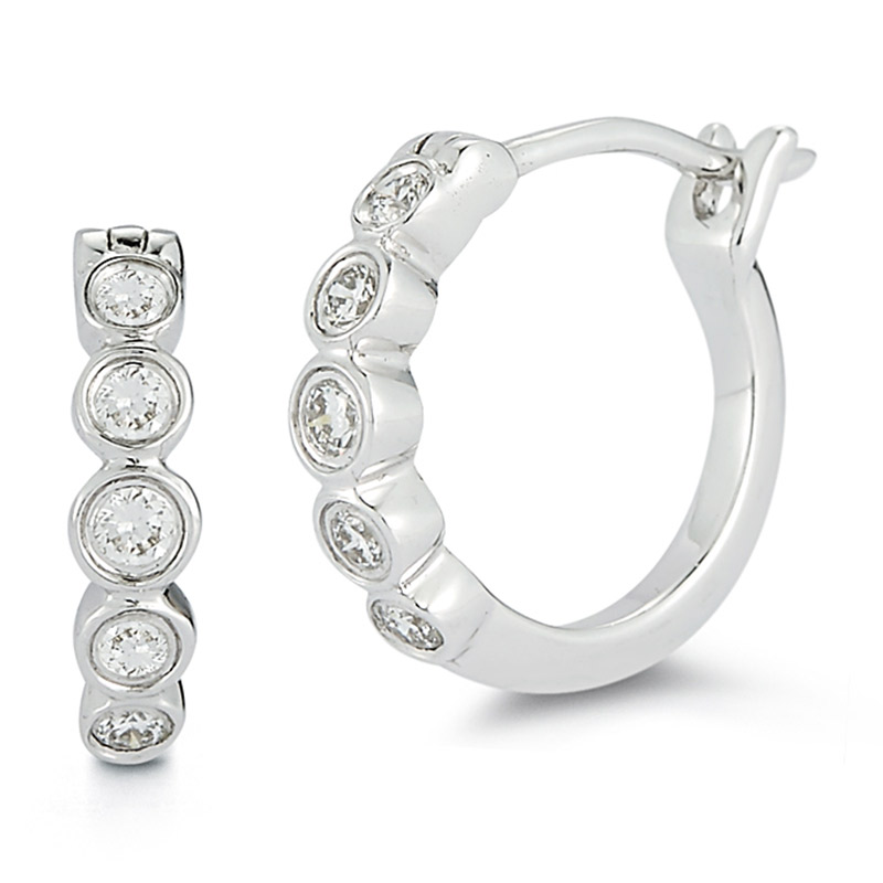 Deutsch Signature Bezel Graduating Diamond Hoops
