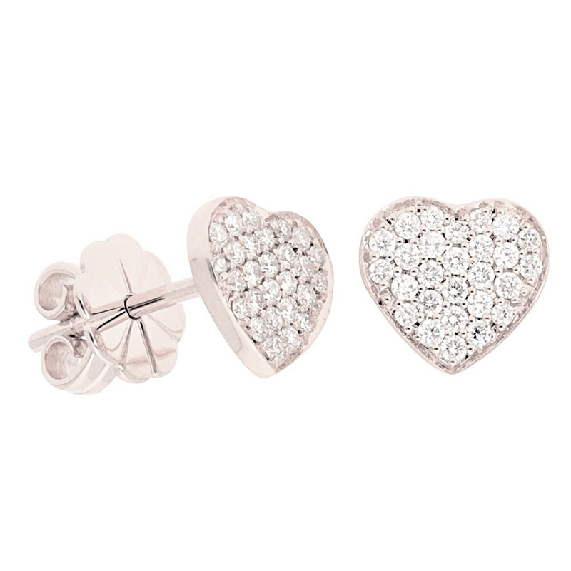 Deutsch Signature Pave Diamond Heart Stud Earrings