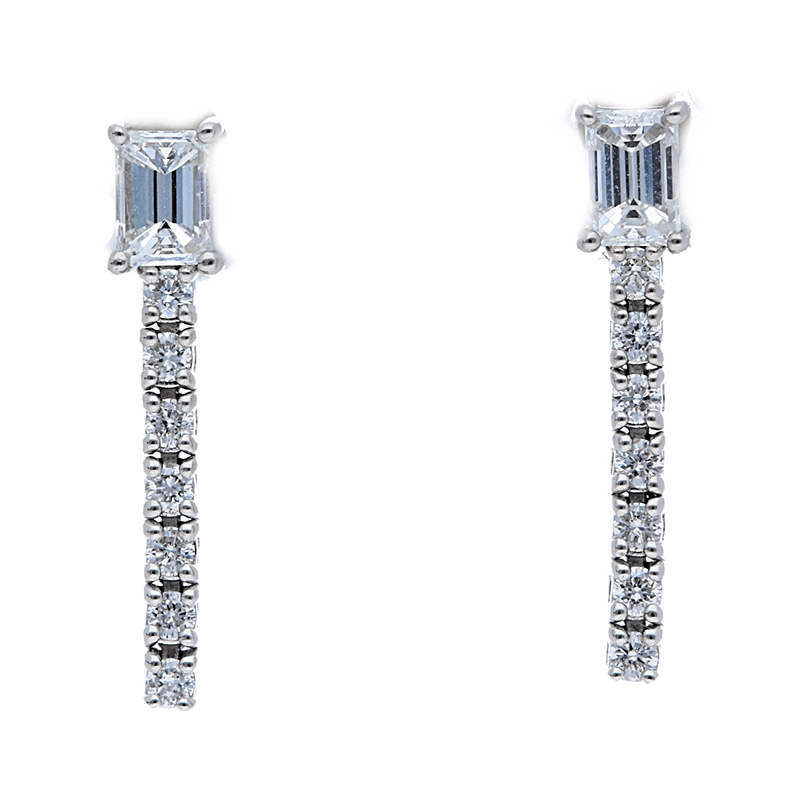 Deutsch Signature Emerald Cut Diamond with Diamond Pave Drop Earrings