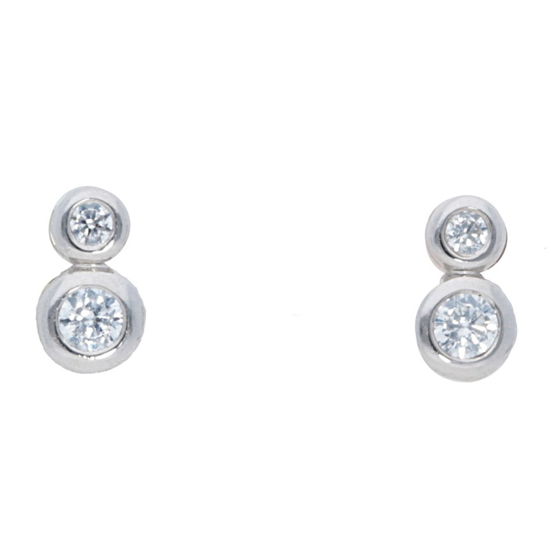 Deutsch Signature Delicate 2 Bezel Set Diamonds Stud Earrings