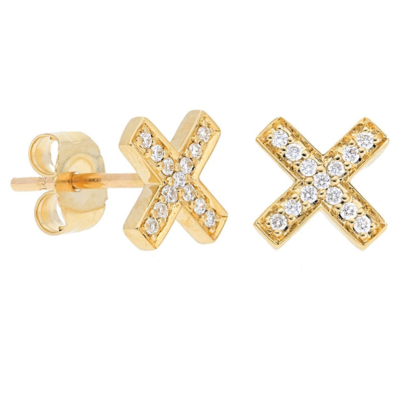 Deutsch Signature Pave Diamond X Studs